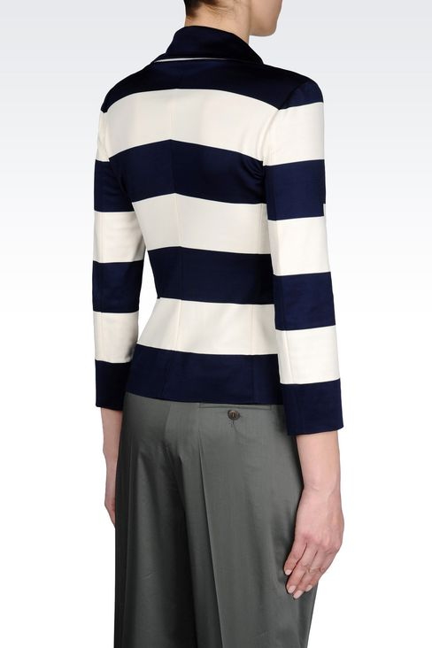 JACKET IN STRIPED MILANO RIB: Two button jackets Women by Armani - 3