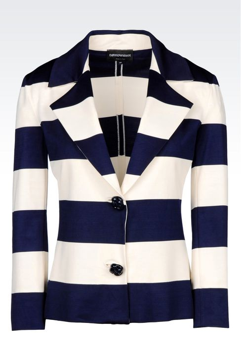 JACKET IN STRIPED MILANO RIB: Two button jackets Women by Armani - 1