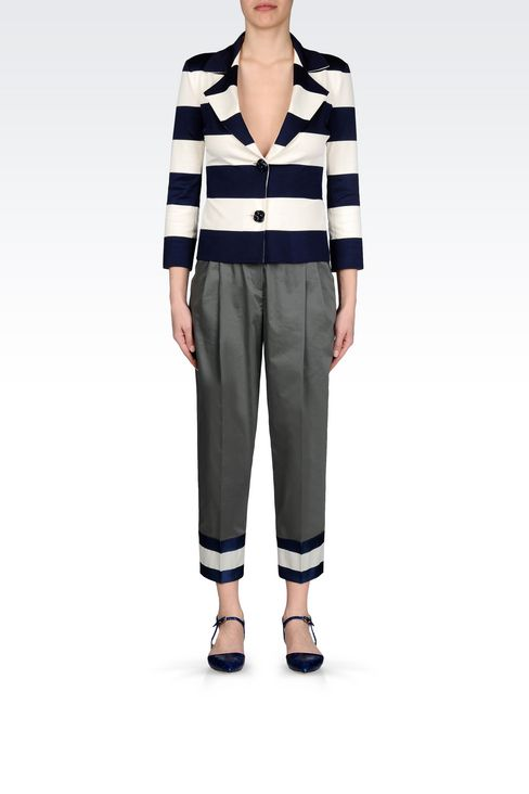 JACKET IN STRIPED MILANO RIB: Two button jackets Women by Armani - 2