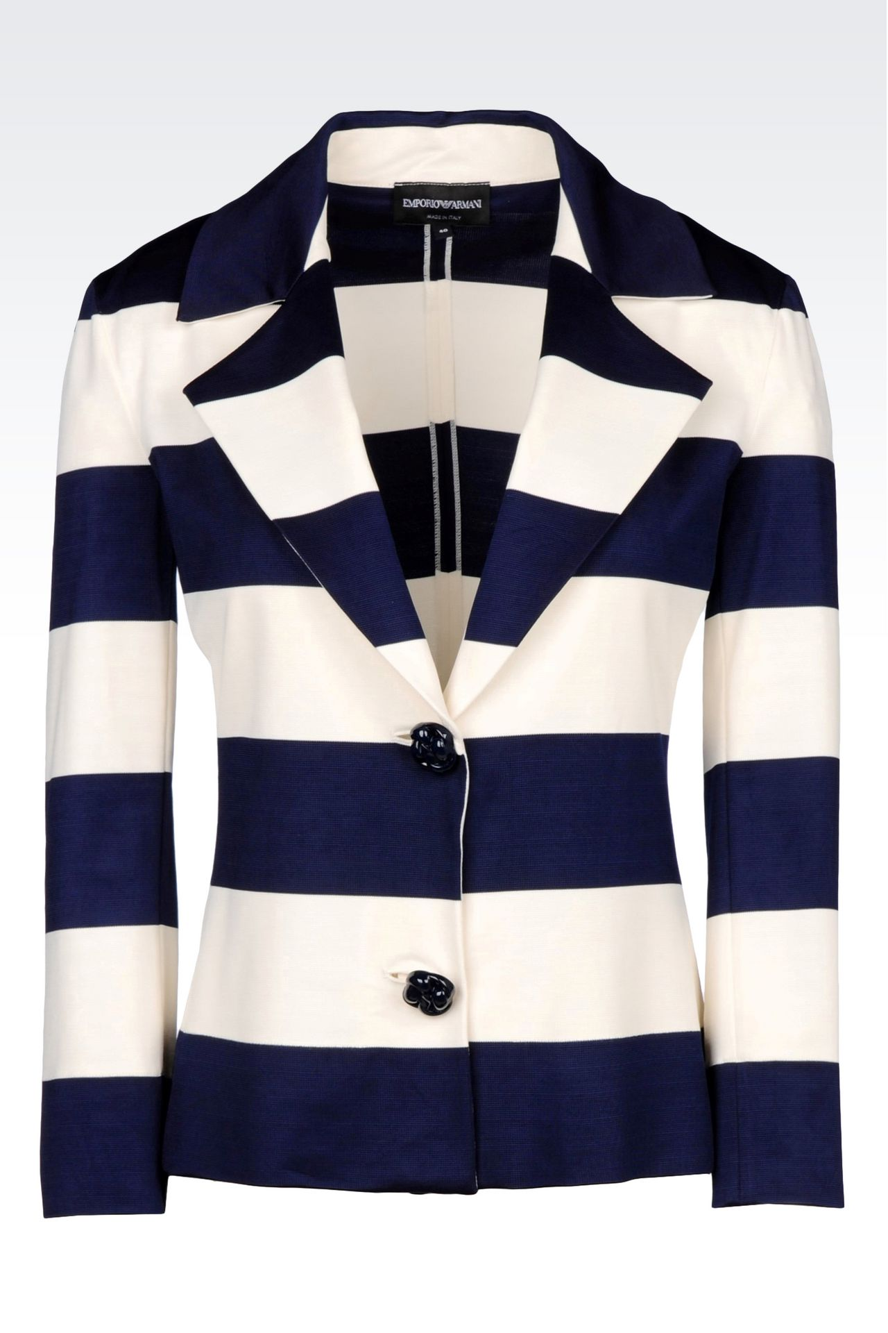 JACKET IN STRIPED MILANO RIB: Two button jackets Women by Armani - 0