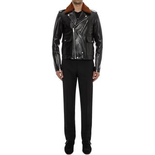 ALEXANDER MCQUEEN, Leather, Leather Jacket with Shearling Collar
