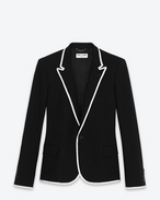 SINGLE BREASTED VESTE DE CANOTIER IN BLACK WOOL AND WHITE GROSGRAIN PIPING