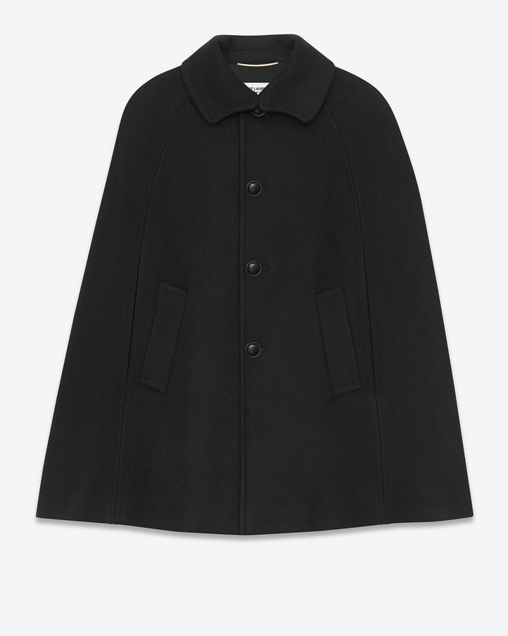 Saint Laurent Mac Cape In Black Felted Wool | YSL.com