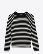 Crewneck Sweater in Black and Ivory Striped Cotton and Wool