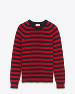 Crewneck Sweater in Black and Red Striped Shetland Wool