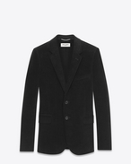 CLASSIC SINGLE-BREASTED 2-BUTTON JACKET with Suede Elbow Patches IN Black Cotton Corduroy