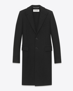 Classic Stand-Up Collar Chesterfield Coat in Black Cashmere Mélange