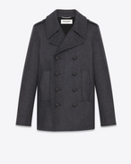 CLASSIC CABAN MARIN Coat IN Grey Mélange Virgin Wool