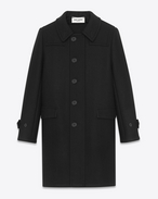 Caban Duffle Coat in Black Wool
