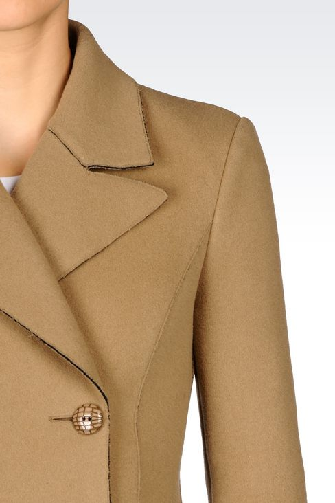 DOUBLE-BREASTED COAT IN BROADCLOTH: Double-breasted coats Women by Armani - 5