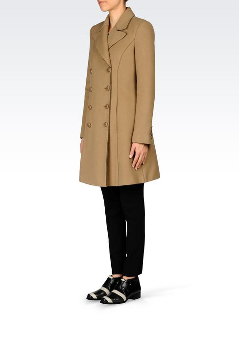 DOUBLE-BREASTED COAT IN BROADCLOTH: Double-breasted coats Women by Armani - 3