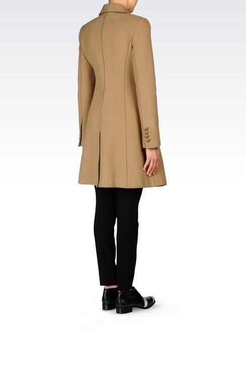 DOUBLE-BREASTED COAT IN BROADCLOTH: Double-breasted coats Women by Armani - 4
