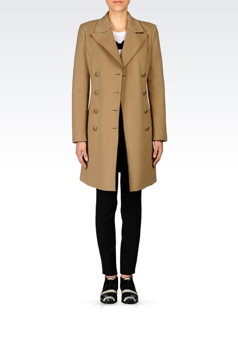 DOUBLE-BREASTED COAT IN BROADCLOTH: Double-breasted coats Women by Armani - 2
