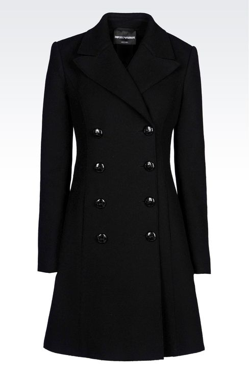DOUBLE-BREASTED COAT IN BROADCLOTH: Double-breasted coats Women by Armani - 1