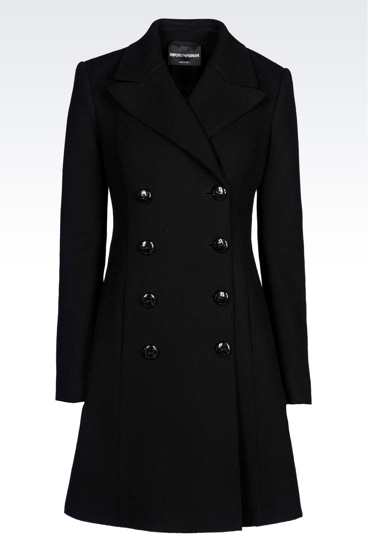 DOUBLE-BREASTED COAT IN BROADCLOTH: Double-breasted coats Women by Armani - 0