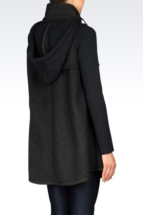 DOUBLE-BREASTED HOODED PEA COAT IN BROADCLOTH: Dust jackets Women by Armani - 3