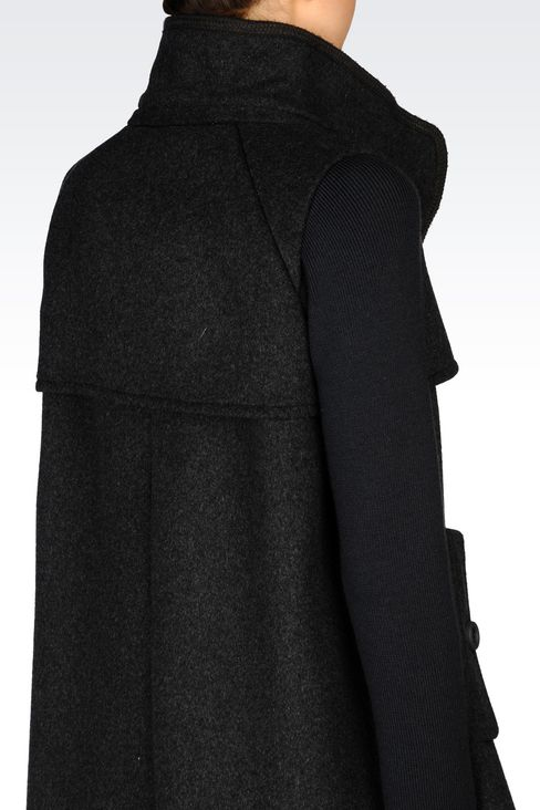 DOUBLE-BREASTED HOODED PEA COAT IN BROADCLOTH: Dust jackets Women by Armani - 4