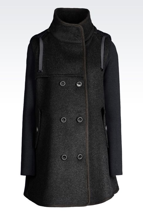 DOUBLE-BREASTED HOODED PEA COAT IN BROADCLOTH: Dust jackets Women by Armani - 1