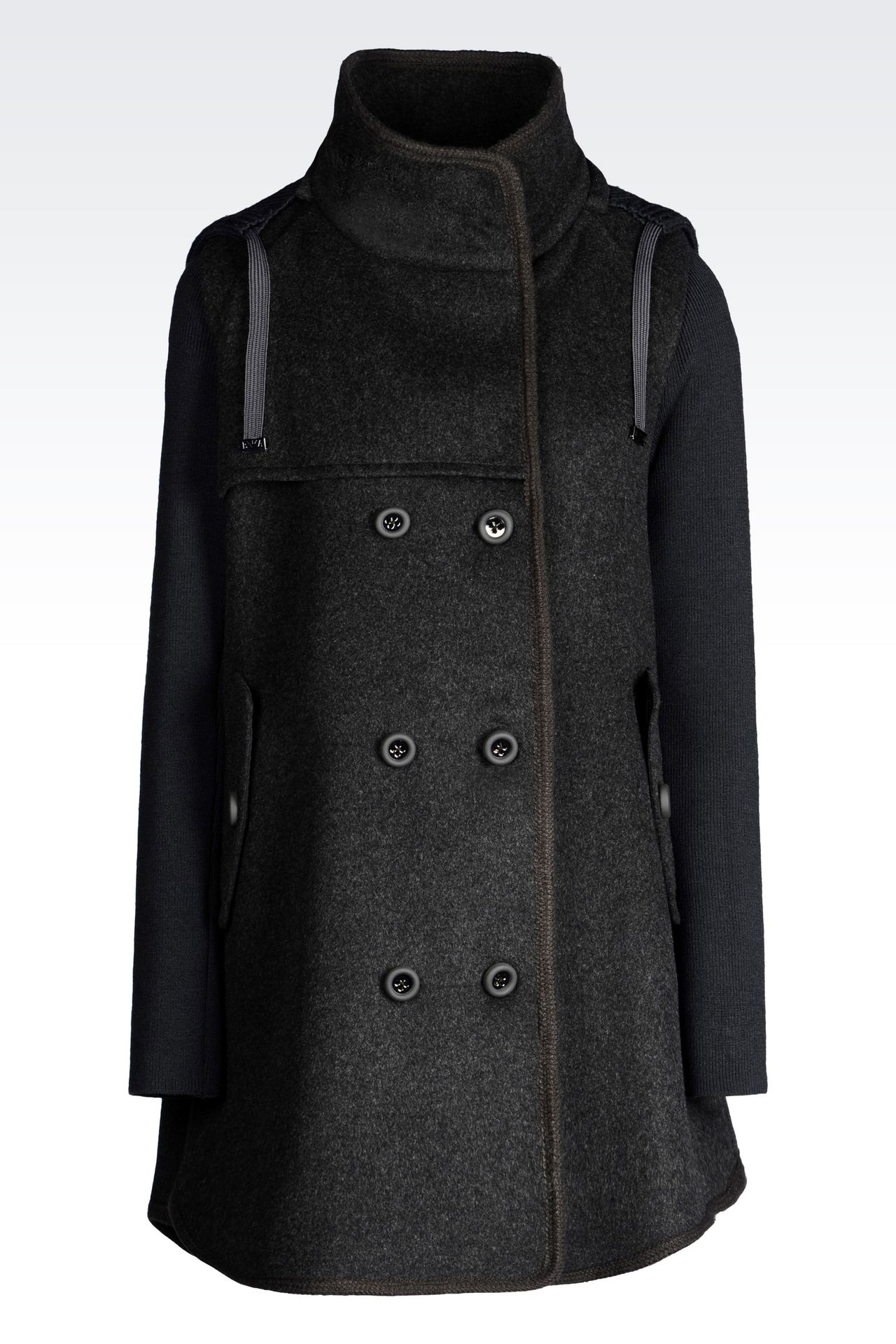 DOUBLE-BREASTED HOODED PEA COAT IN BROADCLOTH: Dust jackets Women by Armani - 0