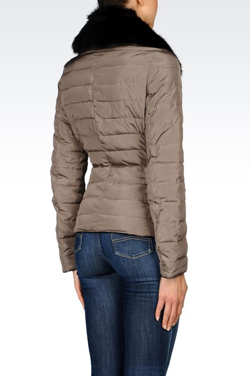 DOWN JACKET IN TECHNICAL FABRIC WITH DETACHABLE COLLAR: Mid-length jackets Women by Armani - 3