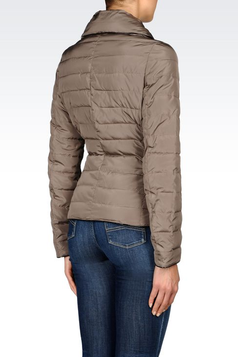 DOWN JACKET IN TECHNICAL FABRIC WITH DETACHABLE COLLAR: Mid-length jackets Women by Armani - 4