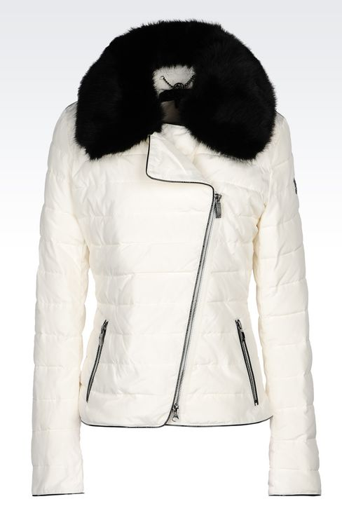 DOWN JACKET IN TECHNICAL FABRIC WITH DETACHABLE COLLAR: Mid-length jackets Women by Armani - 1