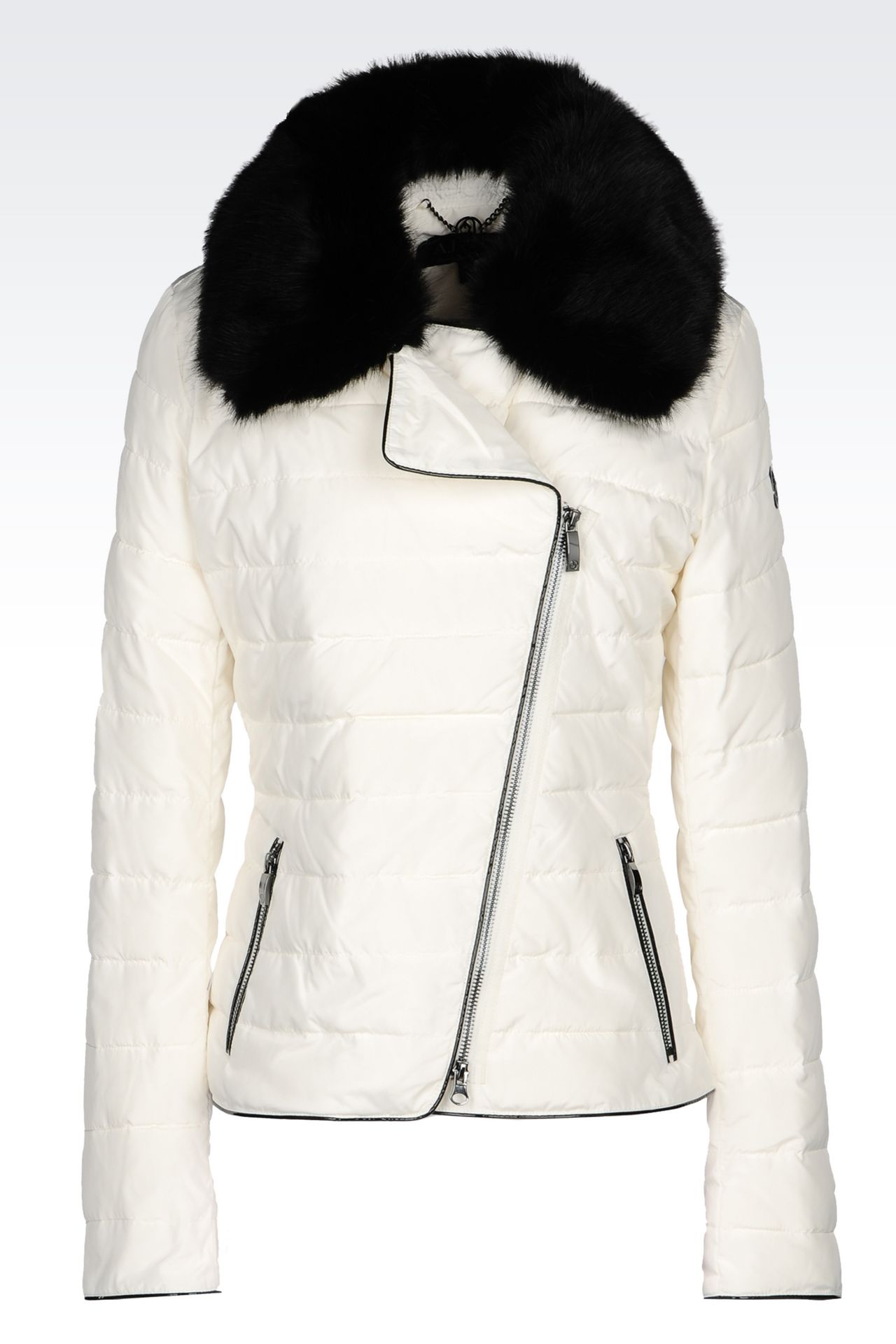 DOWN JACKET IN TECHNICAL FABRIC WITH DETACHABLE COLLAR: Mid-length jackets Women by Armani - 0