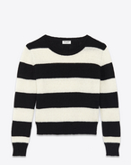 Grunge Crewneck Sweater in Black and Ivory Striped Wool and Cashmere