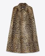Cape aus beigem und schwarzem Leder mit Leopardentupfen