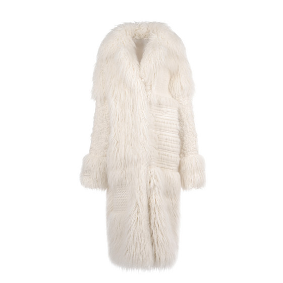STELLA McCARTNEY, Long, Fur Free Fur Ivory Nyla coat