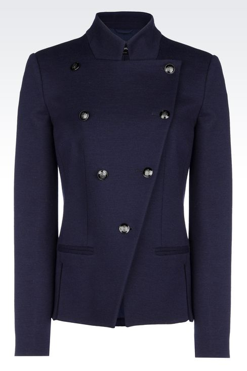 DOUBLE-BREASTED JACKET IN WOOL BLEND: Double-breasted jackets Women by Armani - 1