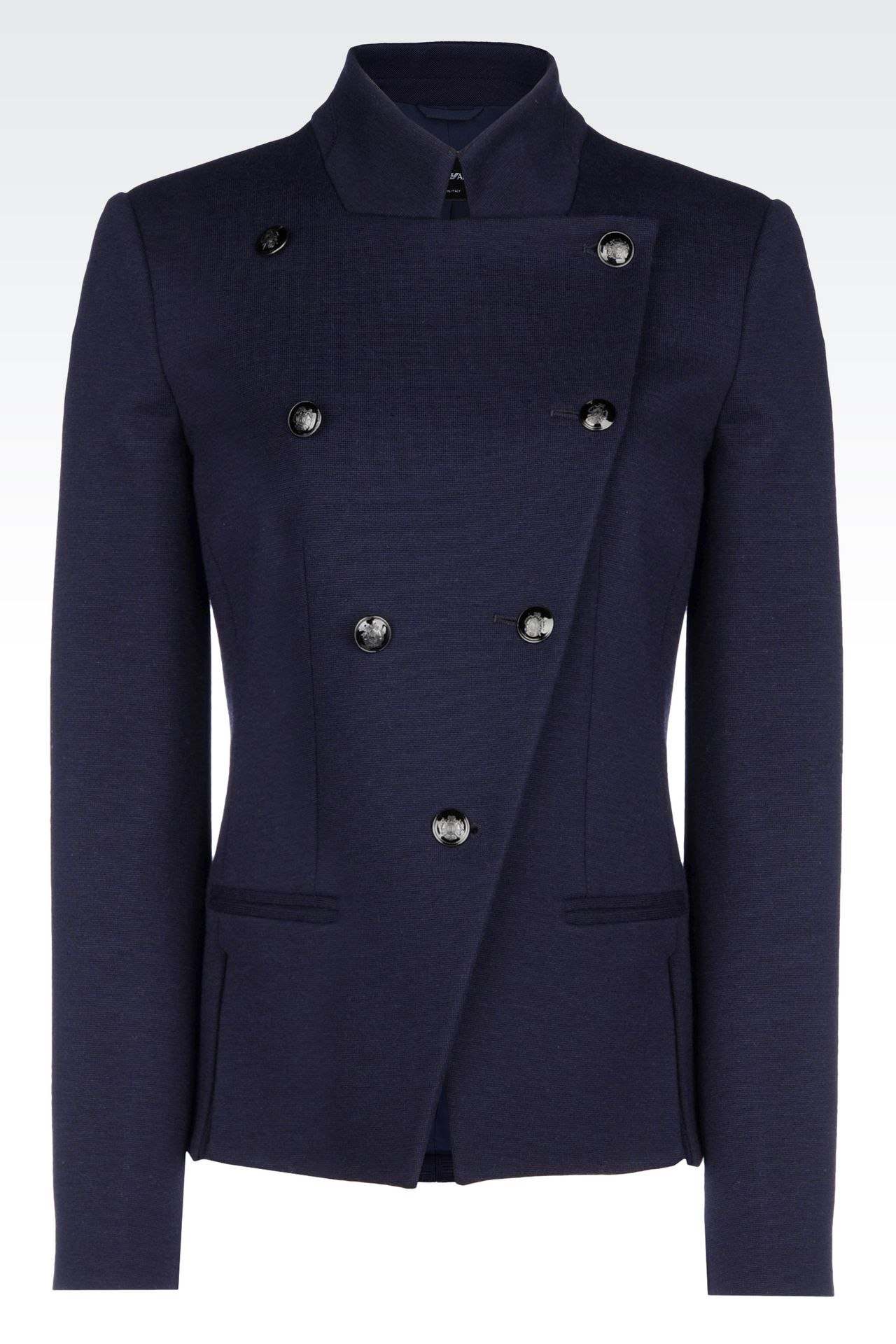 DOUBLE-BREASTED JACKET IN WOOL BLEND: Double-breasted jackets Women by Armani - 0