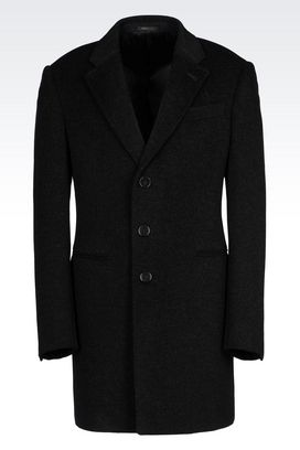 Armani Single-breasted coats Men slim fit coat in wool and cashmere
