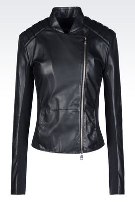 Armani Dust jackets Women blouson in nappa leather with jersey details