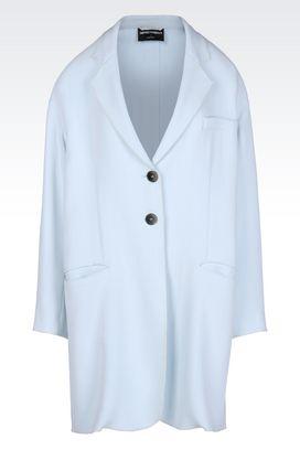 Armani Manteaux à un bouton Femme manteau en double crêpe sablé