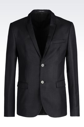 Armani Two buttons jackets Men jacket in micro textured wool and silk