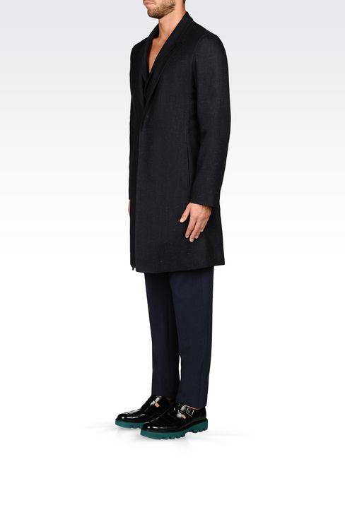 DENIM EFFECT COAT: Single-breasted coats Men by Armani - 3