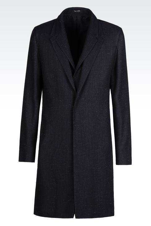 DENIM EFFECT COAT: Single-breasted coats Men by Armani - 1
