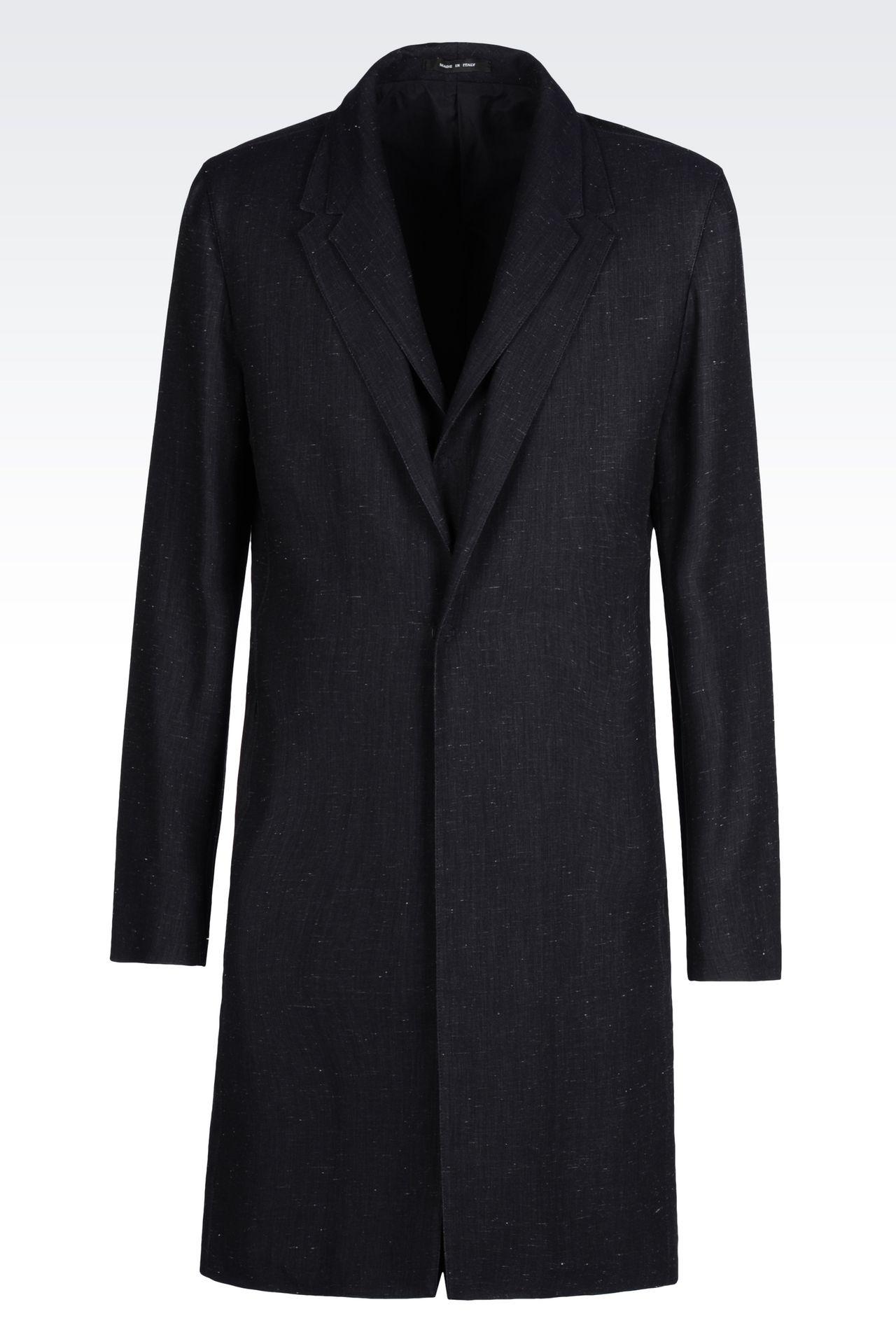 DENIM EFFECT COAT: Single-breasted coats Men by Armani - 0