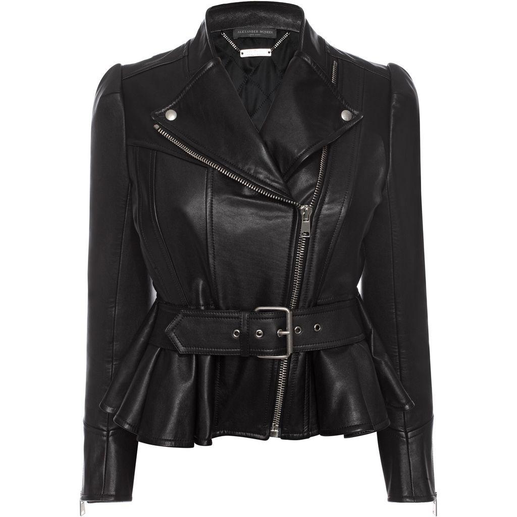 Slim-fit leather biker jacket