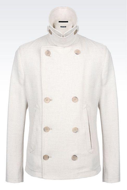 PEA COAT IN BASKETWEAVE: Coats Men by Armani - 1