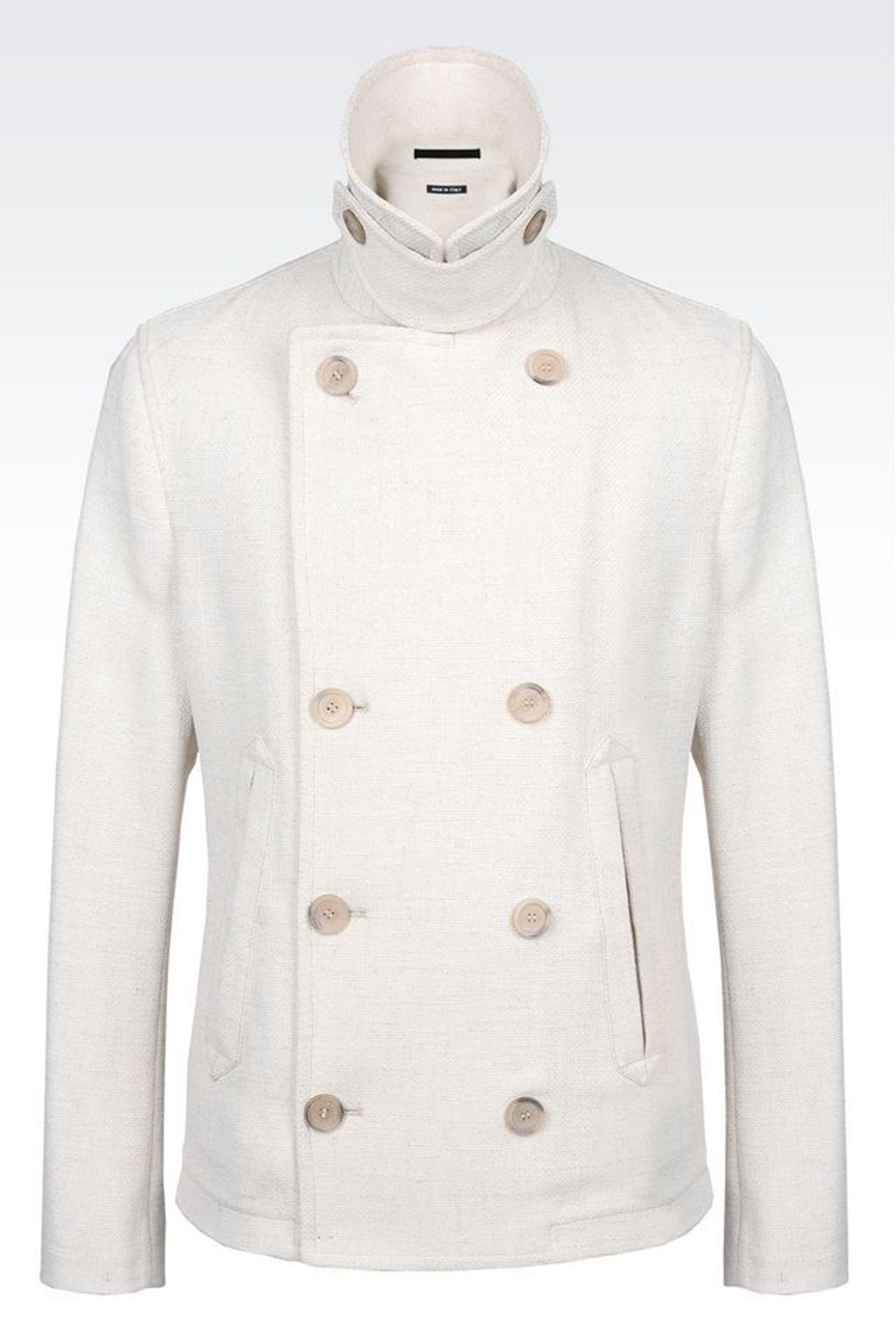 PEA COAT IN BASKETWEAVE: Coats Men by Armani - 0
