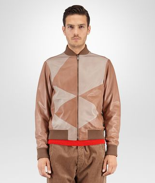 BLOUSON IN NEW CIGAR TOFFEE LAMBSKIN INLAY DETAIL