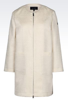 Armani Dust jackets Women pea coat in cotton canvas