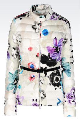 Armani Dust jackets Women down jacket in printed nylon