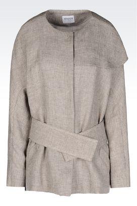 Armani Dust jackets Women pea coat in linen