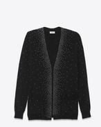 Oversized V-Neck Studded Cardigan in Black and Silver Mohair, Nylon and Wool
