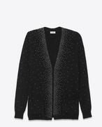 Cardigan oversized con scollo a V e borchie nero e argento in mohair, nylon e lana
