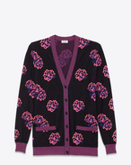 Oversized V-Neck Cardigan in Black, Fluorescent Pink and Blue Wool and Polyester Flower Jacquard