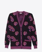 Cardigan oversized con scollo a V nero, rosa fluorescente e blu in lana e jacquard di poliestere a motivo Flower